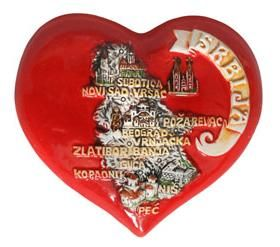 Suvenir MAGNET, srce, keramika, Srbija mapa