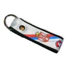 Suvenir PRIVEZAK za ključeve, gurtna, Srbija - beli