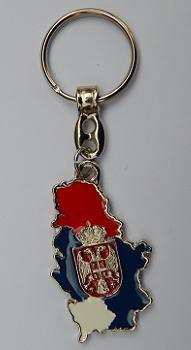 Suvenir PRIVEZAK, metalni, Srbija - kontura, trobojka