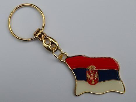 Suvenir PRIVEZAK, metalni, Srbija - zastava