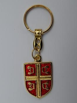 Suvenir PRIVEZAK, metalni, Srbija - štit, Bog čuva srbe