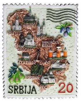 Suvenir MAGNET, Srbija mapa, poštanska marka