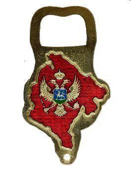 Suvenir OTVARAČ, metalni, silueta, Crna Gora - zastava