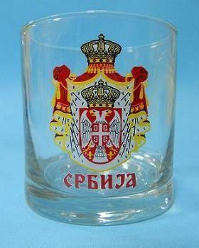 Suvenir ČAŠA za viski, preslikač, Srbija - grb veliki