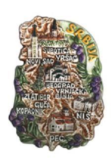 Suvenir MAGNET, keramika, Srbija mapa