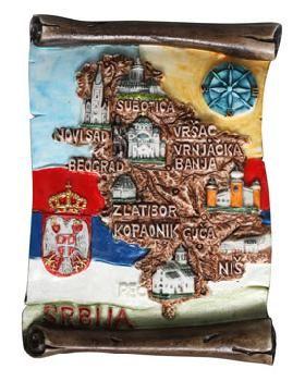Suvenir MAGNET, Srbija mapa, pergament
