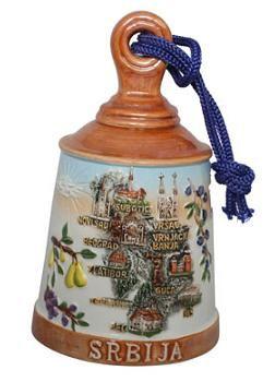 Suvenir ZVONO, veliko, keramika, Srbija mapa