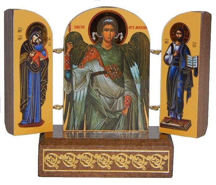 Pravoslavni TRIPTIH, drvo, zlatotisk, Sv. Arhanđel Mihailo