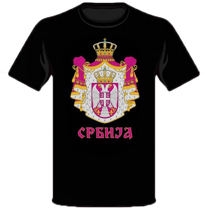 Suvenir MAJICA, muška, crna, Srbija - grb
