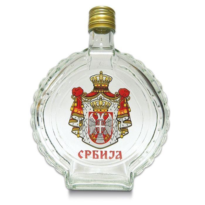Suvenir ČUTURA, staklo, 750 ml, Srbija - grb veliki