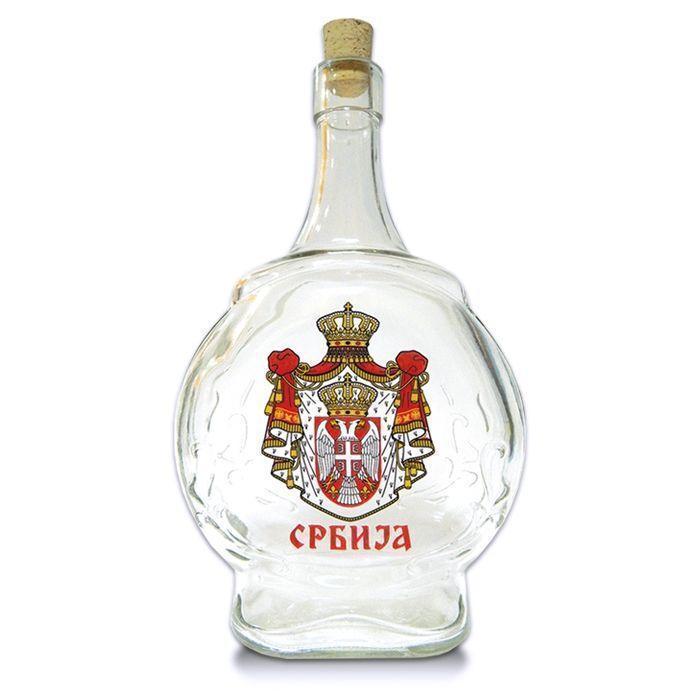 Suvenir ČUTURA, staklo, 1 litar, Srbija - grb veliki