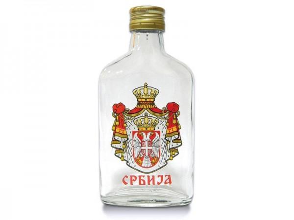 Suvenir PLJOSKA, staklo, 200 ml, Srbija - grb veliki