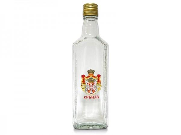 Suvenir FLAŠA, staklo, 500 ml, Srbija - grb veliki