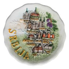 Suvenir MAGNET, keramika, Srbija mapa, tanjir