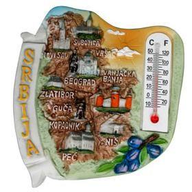 Suvenir MAGNET, Srbija mapa, termometar