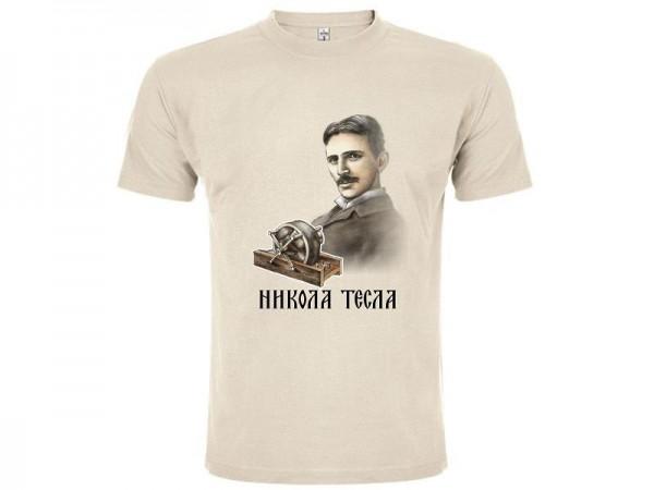 Suvenir MAJICA, tekstil, Master, bež, Nikola Tesla