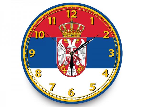 Suvenir SAT zidni, drvo, fi 300, nalepnica, Srbija - zastava
