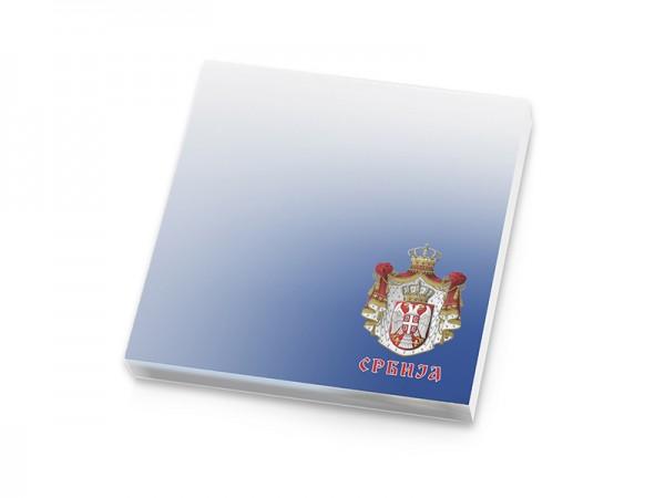 Suvenir  BLOKČIĆ sa samolepljivim listićima, Srbija - grb veliki, plavi