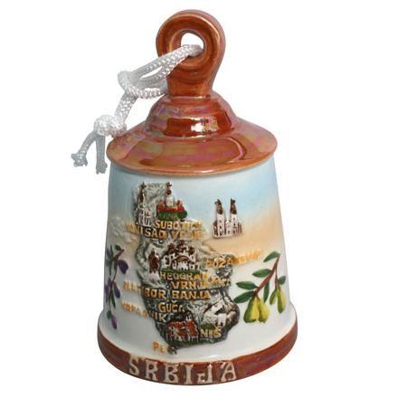 Suvenir ZVONO, malo, keramika, Srbija mapa