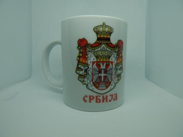Suvenir ŠOLJA, keramika, preslikač, Srbija - grb veliki