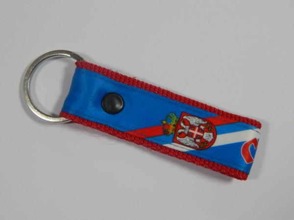 Suvenir PRIVEZAK za ključeve, gurtna, Srbija - plavi