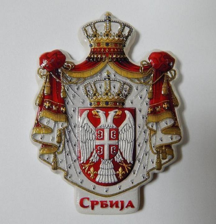 Suvenir MAGNET, keramika, reljef, foto print, Srbija - veliki grb