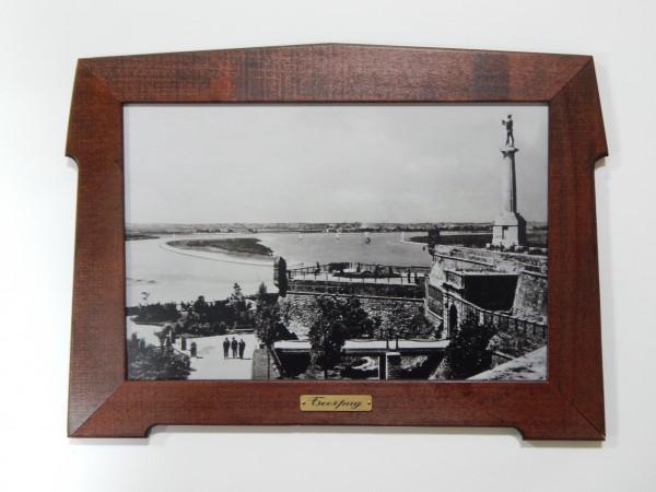 Suvenir SLIKA, stari drveni ram, 15x10 cm, foto print, Beograd - Kalemegdan