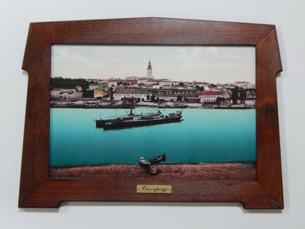 Suvenir SLIKA, stari drveni ram, 13x9 cm, foto print, Beograd - Sava