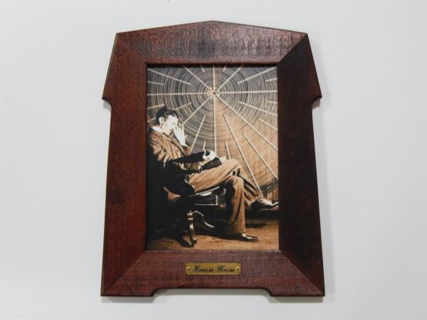 Suvenir SLIKA, stari drveni ram, 13x18 cm, foto print, Nikola Tesla 2
