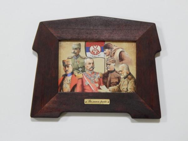 Suvenir SLIKA, stari drveni ram, 13x9 cm, foto print, Veliki rat - vojskovođe