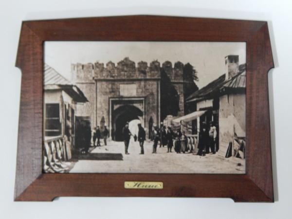 Suvenir SLIKA, stari drveni ram, 13x9 cm, foto print, Niš - tvrđava