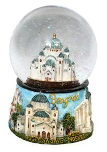 Suvenir KUGLA snežna, 50 mm, Beograd - Hram Svetog Save